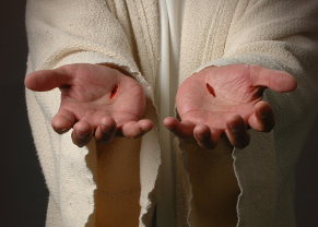 Photo of the scars on Jesus' hands