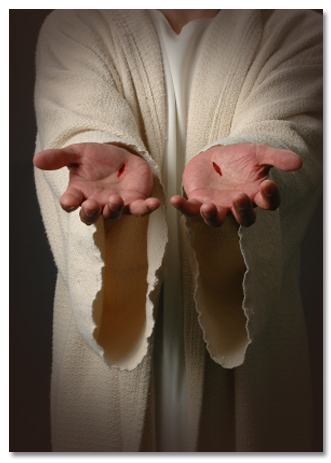 Photo of the scars on Jesus' hands.